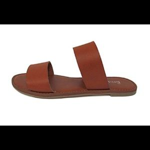 New In Box Two Strap Sandals Slides Slip On Tan